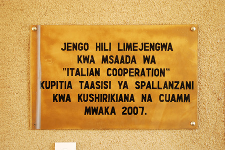 August 29, 2104, Hospital Ipamba of Iringa-Tanzania-Africa - The plaque commemorating the cooperation between the Spallanzani Hospital in Rome, the Association CUAMM and the Ipamba hospital, to combat the turbecolosi, HIV virus and malaria, the three dise