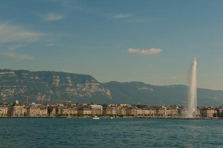 Jet d Eau on Geneva Lake in Switzerland