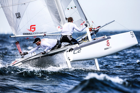 Team is sailing on Formula 18 catamaran race internationally
