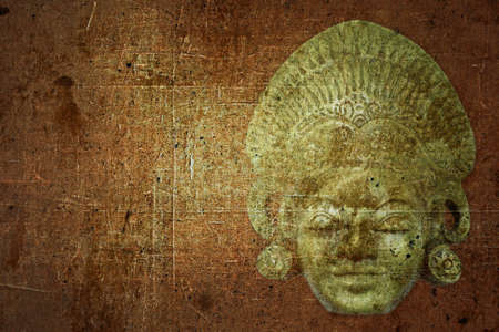 Grunge background with old culture-historic mask and space for your text