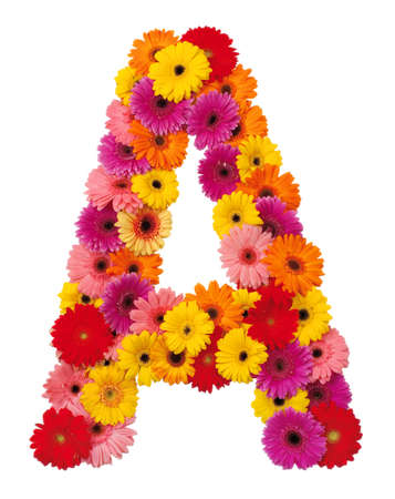 Letter A - flower alphabet isolated on white background