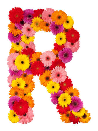 Letter R - flower alphabet isolated on white background