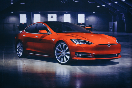 Photo pour Berlin, August 29, 2018: Photo of the image of an electric vehicle Tesla at the Tesla motor show in Berlin. A modern electric car. - image libre de droit