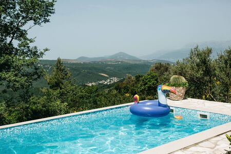 Photo pour Outdoor swimming pool with an inflatable circle on a background of mountains or natural landscape. - image libre de droit