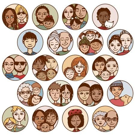 Illustration pour  families, couples, friends, siblings, singles . multicultural, multiethnic, mixed patchwork  - image libre de droit