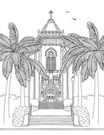 Illustration for Hand drawn ink illustration of the San Francisco University Lone Mountain Tower, California - Royalty Free Image