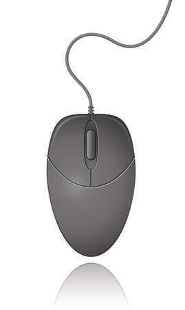 Black Computer Mouse.  Illustration.