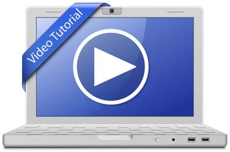 Video Tutorial. Laptop and video service sign.