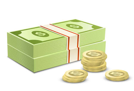 Illustration pour Pack of dollars and coins. Vector illustration of money - image libre de droit