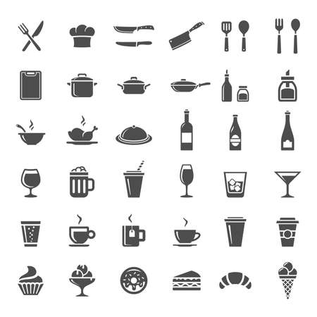 Food and drink icon set. 36 Restaurant kitchen and cooking icons