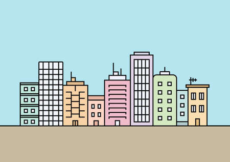 City skyline. Town buildings vector illustration