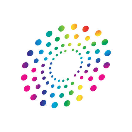 Illustration pour colorful rainbow circles dot pattern circular shape element vector - image libre de droit
