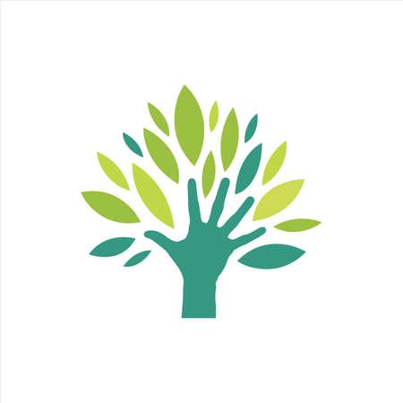 Illustration pour eco green hand logo vector design people who protect nature concept inspiration - image libre de droit