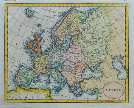 vintage colored europe map