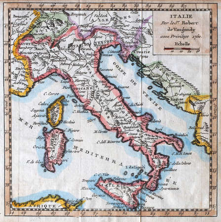 colored  XVIIIth century Italy map, by royal french geographer Vaugondy