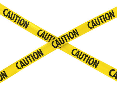Yellow and Black CAUTION Tape Cross
