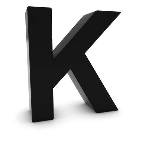 Black 3D Uppercase Letter K Isolated on white with shadows