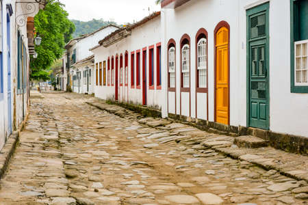 Paraty street with its old colonial-style houses and streets with paving stones of the Empire era