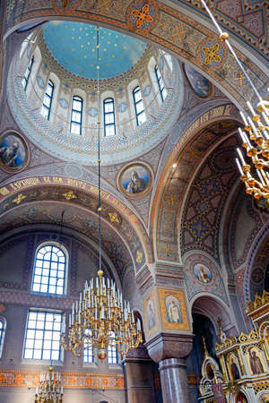 Richly decorated interior of the Uspenski Cathedral in Helsinki