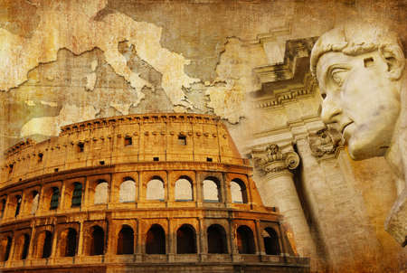 roman empire  - conceptual collage in retro style