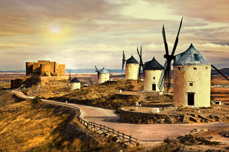 windmills of Spain on sunset