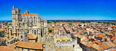 Narbonne, France, panorama with cathedral