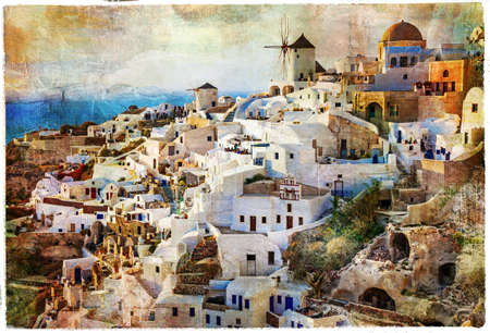 Santorini, artwork in painting style