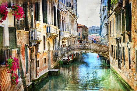 Foto de Romantic Venetian castles - artwork in painting style - Imagen libre de derechos