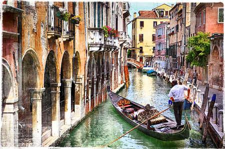 Foto de romantic Venice - artwork in painting style - Imagen libre de derechos