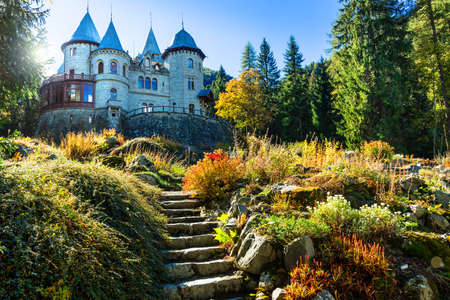 Beautiful Savoia castle, Valle d 'Aosta, North Italy.