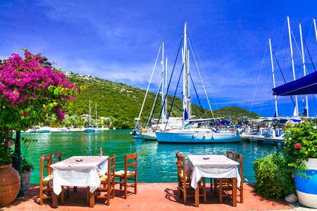 Photo for Traditional restaurant in Sivota village, Lefkada Island, Greece. - Royalty Free Image
