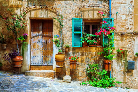 Old streets of medieval village, Spello, Umbria, Italy.