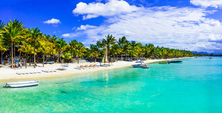 Photo pour Turquoise sea and palm trees in Mauritius island - image libre de droit