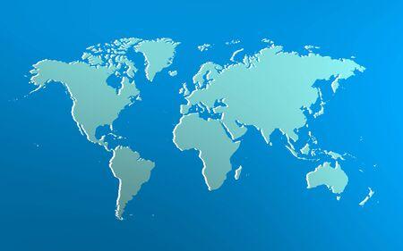 Foto de iconic image of bluish world map over blue bright background - Imagen libre de derechos