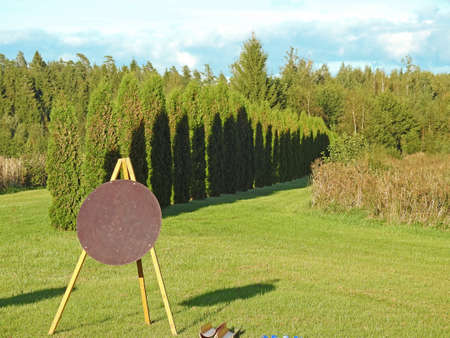 Round archery target on a background of green forest