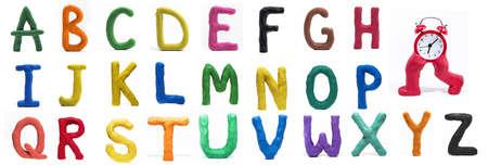 Foto de Latin Alphabet made from Play Clay. High quality photo. - Imagen libre de derechos