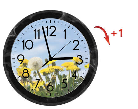 Photo pour Daylight Saving Time (DST). Wall Clock going to summer time (+1). Turn time forward. - image libre de droit