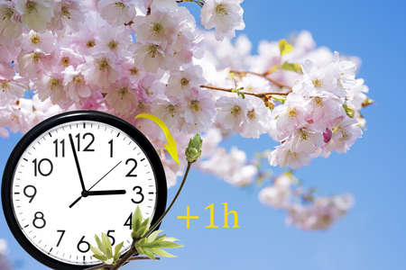 Photo pour Daylight Saving Time (DST). Blue sky with white clouds and clock. Turn time forward (+1h). - image libre de droit