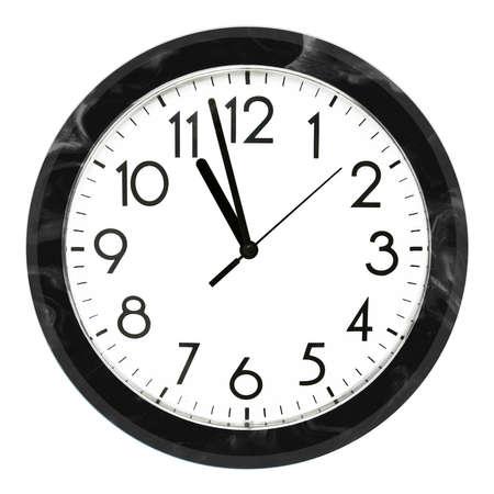 Foto de Black wall clock. Isolated on white background. High quality photo. - Imagen libre de derechos