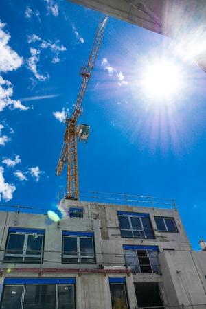 Photo pour Construction site, Crane on blue sky, France, Europe - image libre de droit