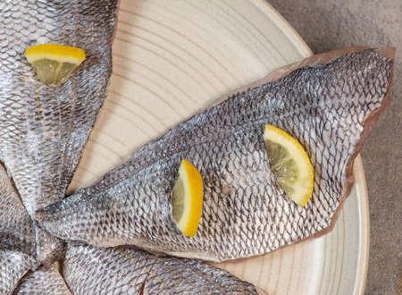Photo pour sea bream fillet, Fresh raw bream fish fillets - image libre de droit
