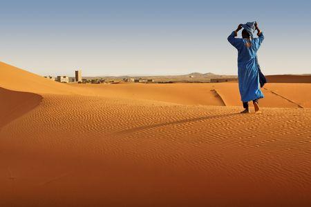 Berber man walking, Morocco.