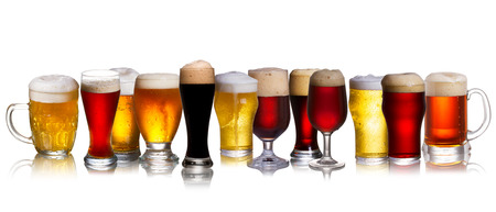 Photo pour Set of various beer isolated on a white background - image libre de droit