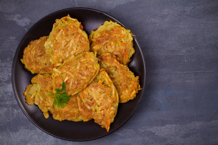 Potato Pancakes. Vegetable fritters, latkes, draniki. Overhead
