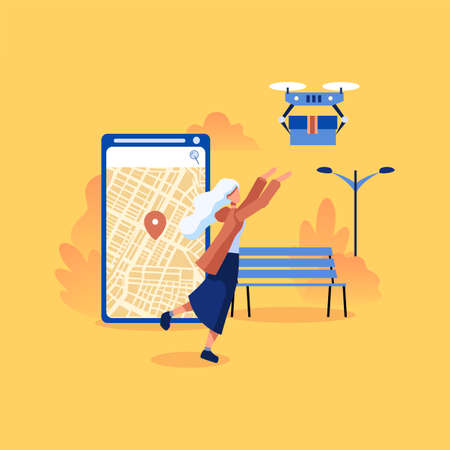 Ilustración de Modern flat design concept of Drone delivery service for website and mobile website. Quadcopter flying over a map and carrying a package to customer. - Imagen libre de derechos