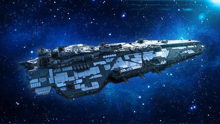 Foto de Alien spaceship in the Universe, spacecraft flying in deep space with stars in the background, UFO top view, 3D rendering - Imagen libre de derechos