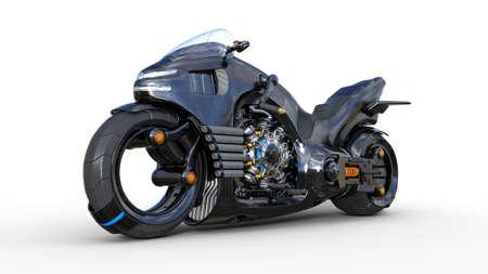 Foto de Bike with chrome engine, black futuristic motorcycle isolated on white background, 3D rendering - Imagen libre de derechos