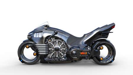 Foto de Bike with chrome engine, black futuristic motorcycle isolated on white background, side view, 3D rendering - Imagen libre de derechos