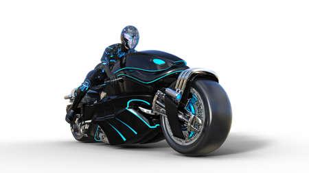 Foto de Biker girl with helmet riding a sci-fi bike, black futuristic motorcycle isolated on white background, 3D rendering - Imagen libre de derechos