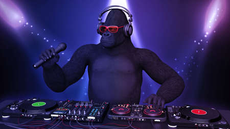DJ gorilla, disc jockey monkey with microphone playing music on turntables, ape on stage with deejay audio equipment, close up view, 3D rendering
